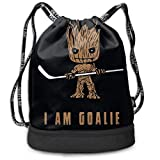 Bolsas de Gimnasia, Men Women Outdoor Sport Gym Sack Drawstring Backpack Bag, Groot I Am Goalie Hockey