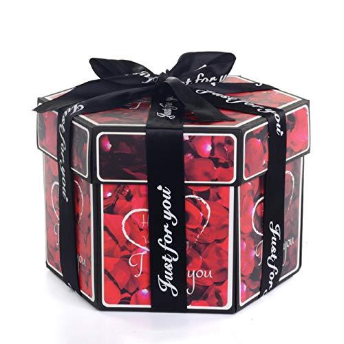 LLSPHYDY Caja de regalo pequeña caja de regalo hexagonal para sorpresas de explosión hecha a mano, álbum de fotos, caja de regalo de boda