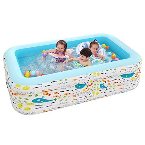 HIMNA PETTR Selbstaufblasbarer Pool, rutschfest Kinderplantschbecken, PVC Kinderpool Für Garten Balkon Für Kinder Jungen Mädchen, Leicht Aufbaubar, Blau,210cm/82.7in
