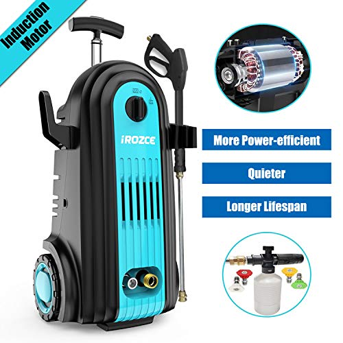 iRozce Pressure Washer, 3045PSI 2.8GPM Max Brushless Induction Motor Electric Power Washer with Foam Cannon, Metal Adapter, Connector Nozzles for Driveway, Car Washing, Blue