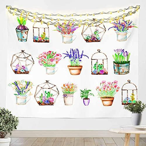 Loussiesd Tapiz floral para colgar en la pared, para niños, niñas, adolescentes, flores, decoración de pared, manta de cama grande, 122 x 182 cm