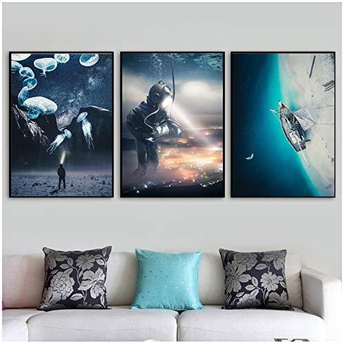 NIEMENGZHEN Druck auf Leinwand Surrealismus Unterwasserwelt Meer Nordisches Poster und Drucke Kreativität Wandkunst Bilder Wohnzimmer Dekor 23,6