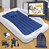 Coco&Lan Kids Air Mattress (Complete Set), Premium Toddler Travel Air Mattress, Portable & Inflatable with Safety Bumpers, Toddler Bed for Floor, Indoor, Outdoor Camping, Hotel & Home