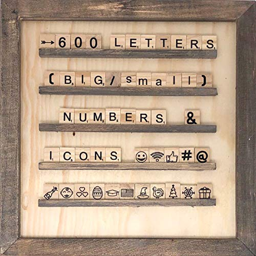 Scrabble Tile Changeable Letter Board - Rustic Style Letterboard Décor | Farmhouse Wood Tile Art | Changeable Announcement Message Boards | Home or Office Decorations | 600 Scrabble Wood Characters