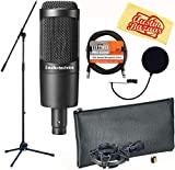 Audio-Technica AT2035 Cardioid Condenser Microphone Bundle with Boom Stand, Pop Filter, XLR Cable, and Austin Bazaar Polishing Cloth