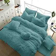 RAYYAN Linen Teddy Fleece Duvet Cover Bedding Set Thermal Warm Cosy Soft Fur Quilt Cover Bedding Set with Pillowcase(s) (T...