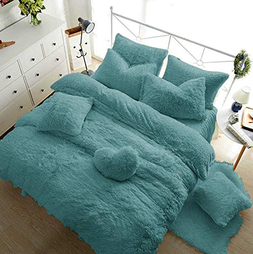 RAYYAN Linen Teddy Fleece Duvet Cover Bedding Set Thermal Warm Cosy Soft Fur Quilt Cover Bedding Set with Pillowcase(s) (Teal, DOUBLE)
