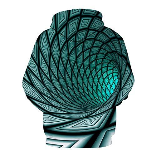 SLYZ Autunno E Inverno Nuovi Uomini 3D Colore Buco Nero Turbinio Stampa Digitale Moda Maglione con Cappuccio Camicia da Uomo