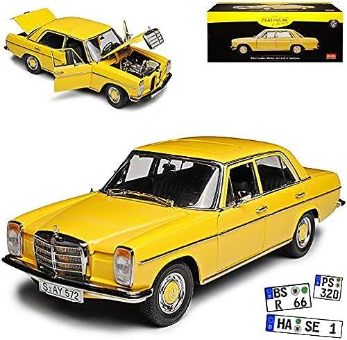 Sun Star Mercedes-Benz  8 Strich-Acht Limousine Beige Sahara Gelb W114 1967-1976 1 18 Modell Auto mit individiuellem Wunschkennzeichen
