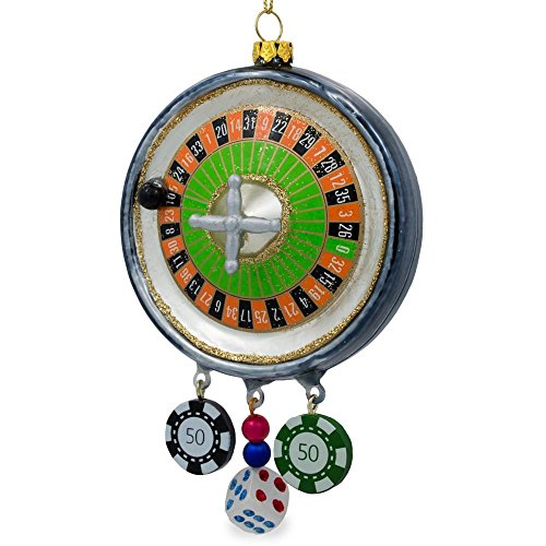 BestPysanky Roulette Casino Poker Chip Glass Christmas Ornament 5.75 Inches