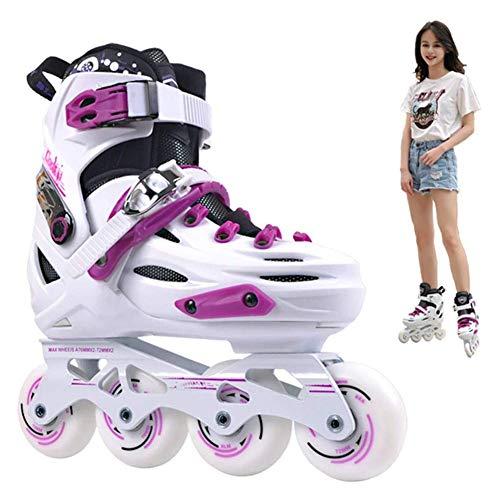 AYLS Inline Skate Für Damen, Einteilige Halterung Aus Aluminiumlegierung, Haltbare PU-Räder, 5-Fach Verstellbare Schuhgröße,Schweißabsorbierender Schwamm,40~44