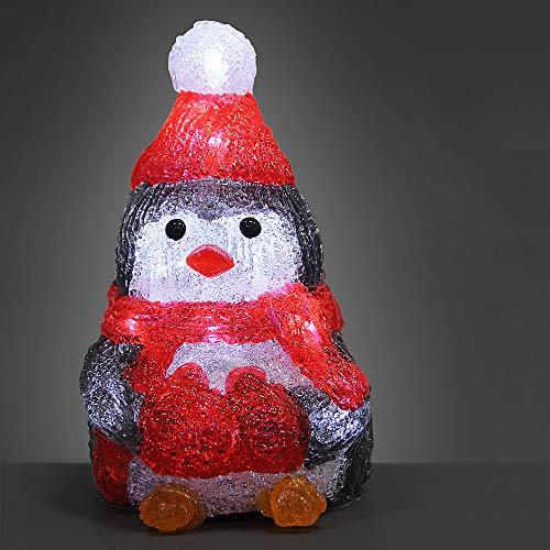 Deuba LED Acryl Figur Weihnachtsdeko Pinguin beleuchtet Weihnachten Deko Indoor Outdoor Weihnachtsfiguren