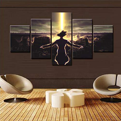 QJXX Leinwanddrucke Modern Home Wand Dekor Goku Sunrise 5 Stück Cartoon Dragon Ball Z Leinwände Drucken Bild Kunst HD Malerei Kunstwerke,B,30×40Cm×2+30×60Cm×2+30×80Cm×1