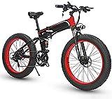 MQJ Ebikes Bicicletas Eléctricas Plegables para Adultos Bicicleta de Montaña 7 Velocidad M de Acero de 26 Pulgadas Ruedas Dual Suspensión Bicicleta Plegable Bicicleta E-Bicicleta Ligera para Unisex,R