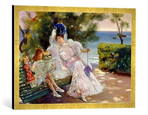 Kunst für Alle '–Fotografía enmarcada de José Villeroy Gas y Cordero Tarde En el Mar, Biarritz, de impresión handgefertigten imágenes de Marco, 70x 50cm, Oro Raya