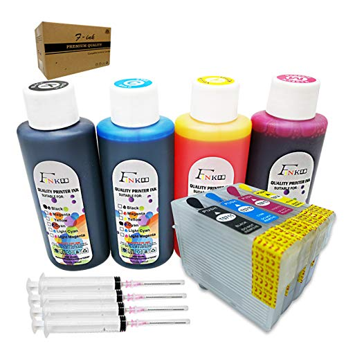 HEMEI - Cartucho de tinta compatible con T0715 o T071, cartucho de tinta recargable y 4 unidades de 100 ml de repuesto para T0711 negro T0712 cian T0713 magenta T0714 amarillo, con chips ARC