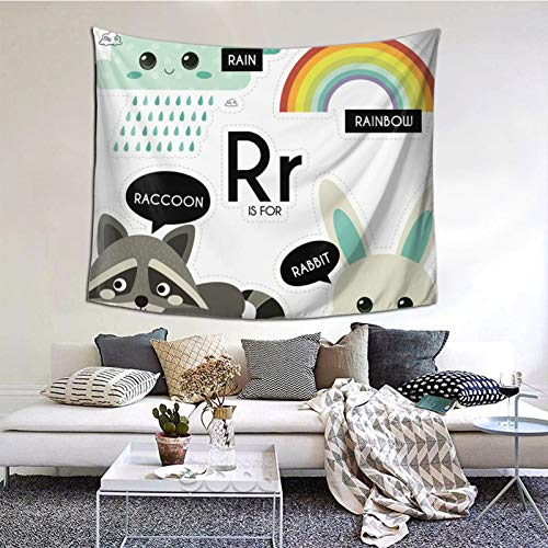 ZVEZVI Kids Alphabet Letter R Set Education ABC Tapiz Arte de la Pared para la Sala de Estar Dormitorio Decoración del Dormitorio 60ʺ × 51ʺ