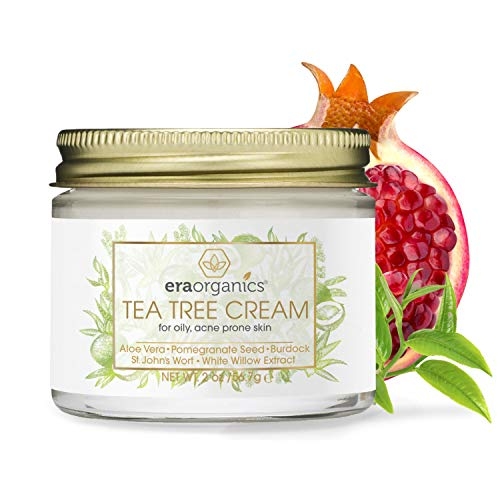 Tea Tree Oil Face Cream - For Oily, Acne Prone Skin Care Natural &Amp; Organic Facial Moisturizer With 7X Ingredients For Rosacea, Cystic Acne, Blackheads &Amp; Redness 2Oz Era-Organics