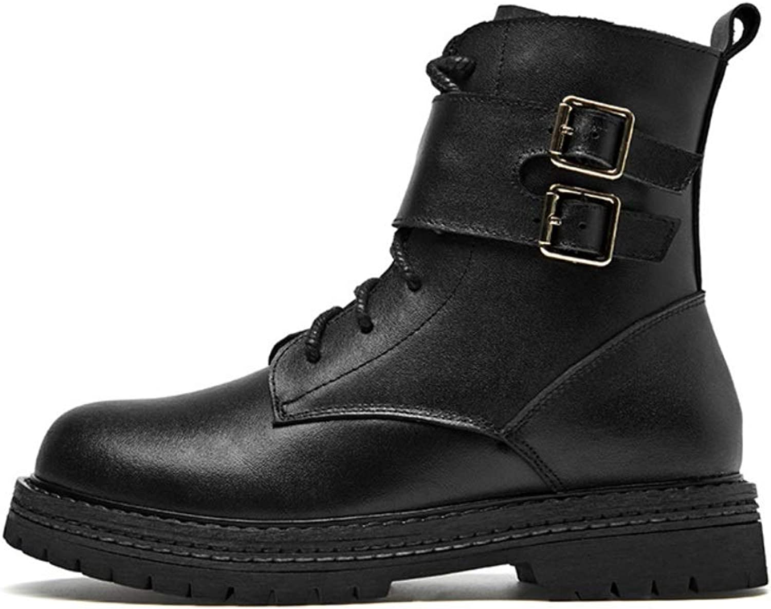 Women Calf Biker Boots Casual Classic Martin Ankle Boots Lace Up Grip Sole Autumn Winter Warm Handmade Army Transer Combat Boots Size