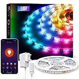 Tira LED Alexa, 5M Luces LED 5050 RGB WiFi, Tira Led Inteligente Control Remoto por App, Sincronizar con Música, Funciona con...