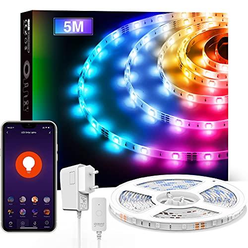 Tira LED WiFi Alexa, igosund 5M Inteligente Luces LED RGB USB Tiras Led Control por APP/Voz, Funciona con Alexa/Google Home, Sincronizar con Música,Luces LED Habitación,Retroiluminación TV/PC Monitor