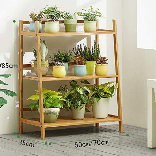 Support de fleurs Bamboo Landing Multi-layer Rack succulent intérieur Balcon pot rack Etagère de salon trois couleurs Longueur 50cm / 70cm (Couleur : A, taille : 70 * 35 * 85cm)