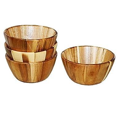 Acacia Wooden Bowls, Salad Bowl, 7.87'' x 7.87'' x 3.93'', Set of 4, WELLAND