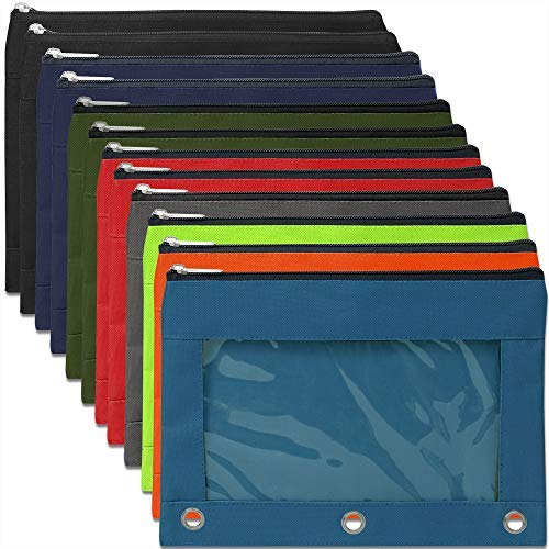 12 Pack of Big 3 Ring Pencil Pouch with Clear'See Through' Window - 12 Bulk Pack Bundles (Color Pack 3)