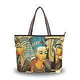 QMXO - Bolso de mano para mujer, diseño étnico Egipto egipcio, pergamino y bolso para mujer, color Multicolor, talla Medium