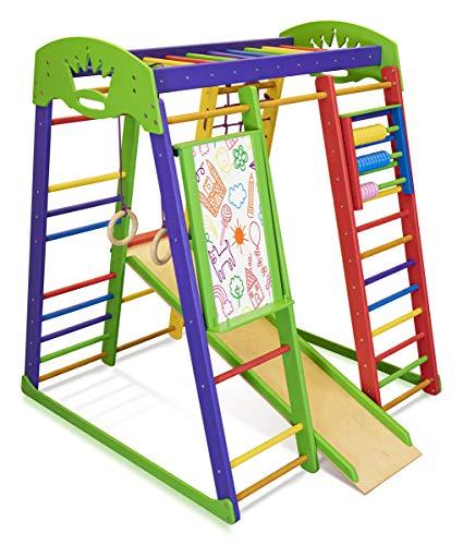 SportBaby Centro de Actividades con tobogán ˝Akvarelka-Plus˝, Red de Escalada, Anillos, Escalera Sueco, Campo de Juego Infantil, Juguetes
