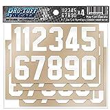 Helmet Number Decals (Football, Lacrosse, Hockey, Baseball, Softball) White Stickers (1.5 Inch Tall)