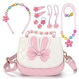 ucradle borsa a tracolla per bambini, mini principessa borsa con tracolla regolabile messenger borse per donna set di gioielli da ragazza bracciale collana fermacapelli ad anello regalo per ragazza