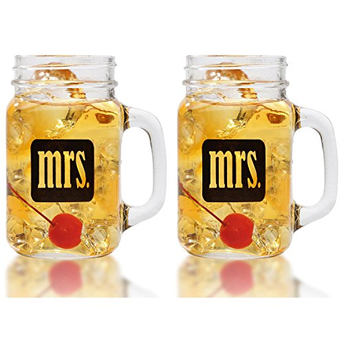 Mrs. & Mrs. Gay Couple Mason Jars With Gift Box - Same Sex Drinking Glasses - Hers and Hers - For Wedding, Engagement, Anniversary, House Warming, Hostess Gift, 16 ounce