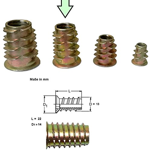 12x Stahl Gewindemuffen galvanisch verzinkt - Stabiler M4 M6 M8 Gewindeeinsatz ideal für Arbeiten im Holzbereich (M8)