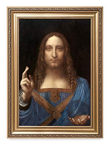 "DECORARTS - Portrait of Christ in ""Salvator Mundi"" by Leonardo Da Vinci. giclee Print on Canvas. Museum-Grade Art Reproduction in Handcrafted fine Art Frame. Framed Size: 26x36"