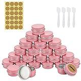 RMENOOR 24 PCS Latas de Aluminio con Fuerza de Sellado Tarros de Aluminio con 1 Pegatina 4 Cucharas Recipiente de Cosmética Tarros Vacíos para Dulces Cosmetica Maquillaje Almacenamiento (Rosa)