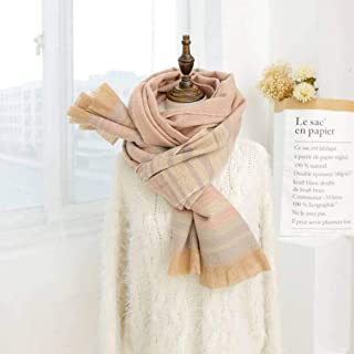 Striped Scarf Autumn & Winter Female Korean Student All Match Girl's Mind Thick Japanese Soft Sister Cashmere Scarf, houseHold, Pink, 200 60cm