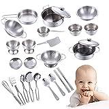 Küchenspielzeug Zubehör kinderküche Edelstahl Kochgeschirr topfes Kochgeschirr Pfannenset für Mädchen und Jungen