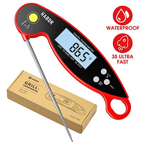 Habor Digital Meat Thermometer Upgraded Waterproof, 3s Instant Read Digital Cooking Thermometer, Kitchen Food Thermometer with Backlight & Ambidextrous Display for Candy Turkey BBQ Milk Water