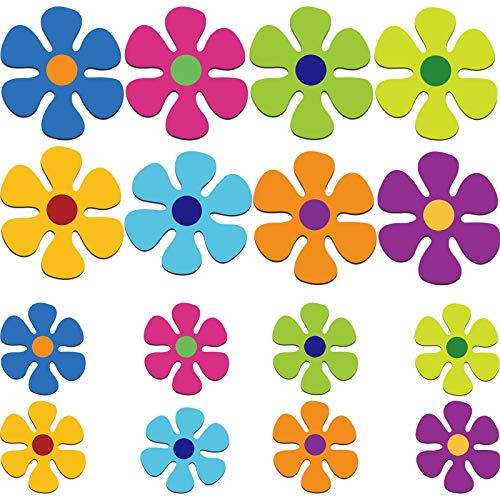 Car Magnet Decorations Magnetic Flower Decals Fridge Magnets 60s Multi-Color Flower Cutout Magnet for Car Home Wall Whiteboard Refrigerator (16, 3.9 x 3.9 Inch, 2.2 x 2.2 Inch)