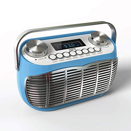 Radio Vintage FM con Despertador, Pantalla LCD, Transistor Radio Retro de Sobremesa