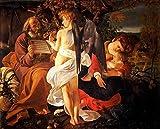 JH Lacrocon Michelangelo Merisi da Caravaggio - Resto Vuelo Egipto Reproducción Cuadro sobre Lienzo Enrollado 100X80 cm - Pinturas Renacimiento Impresións Decoración Muro