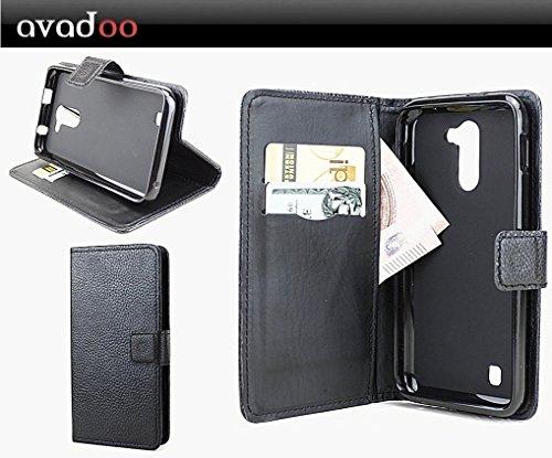avadoo® Archos 50c Neon Flip Case Cover Schwarz Ledercase vernäht und mit doppelten Kartenschacht als Cover Tasche Hülle