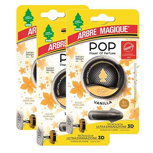 Arbre Magique Pop Power of Perfume Lufterfrischer fürs Auto, Duft Vanilla, Duft bis zu 30 Tage, 3 Packungen
