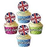Decoración comestible para cupcakes con diseño de bandera de Reino Unido Pack de 24