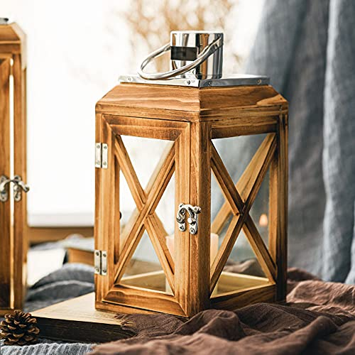 DSYADT Lantern Candle Holder - Candlestick Brown Hurricane Lamp Garden Outdoor Wooden Square Glass Decorative Storm Lanterns for Vintage Hanging Shabby Chic Wedding Decoration