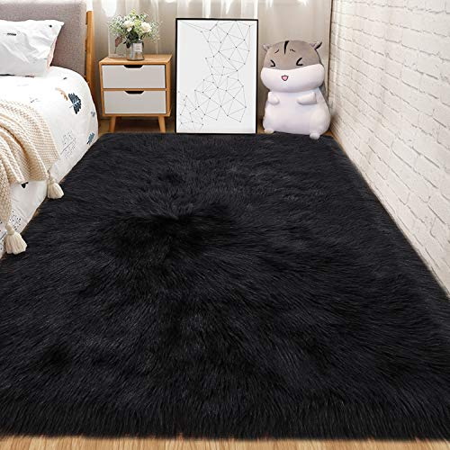 Andecor Soft Fluffy Faux Fur Bedroom Rugs 3 x 5 Feet Indoor Wool Sheepskin Area Rug for Girls Baby Living Room Chair Sofa Home Decor Floor Carpet, Black