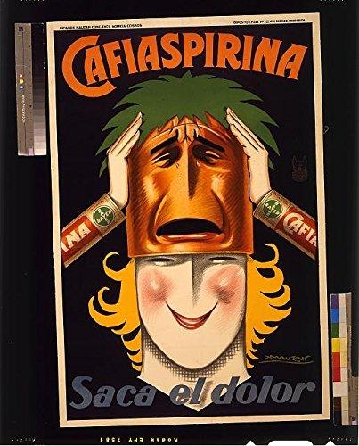 INFINITE PHOTOGRAPHS Foto: Cafiaspirina Saca el Dolor, Werbung, Bayer Aspirin, Frau, Maske, weinend, c1930 Größe: