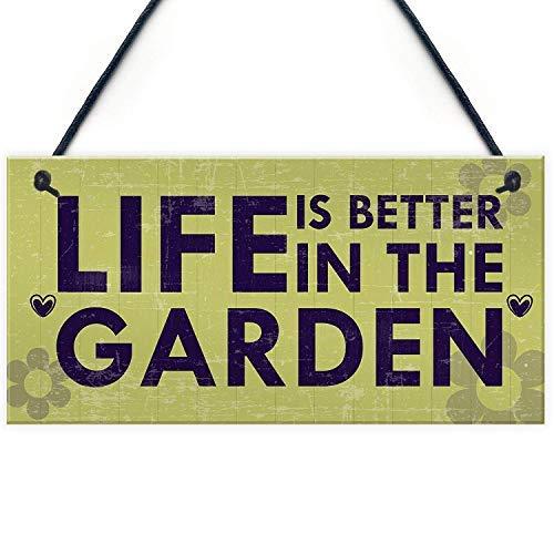 qidushop Gartenschild mit Sprüchen für den Garten, Gartenhaus Rustikal, Gartenhaus Rustikal, Gartenarbeit, Geschenk für Mutter und Oma, aus Holz