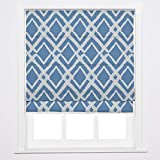 Roman Shade for Windows, Custom Fabric Window Blinds with Grey Blue Printed, Easy Replace, Drapiftyex